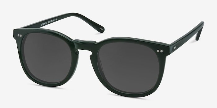 Ethereal Dark Pine Acetate Sunglass Frames from EyeBuyDirect, Angle View