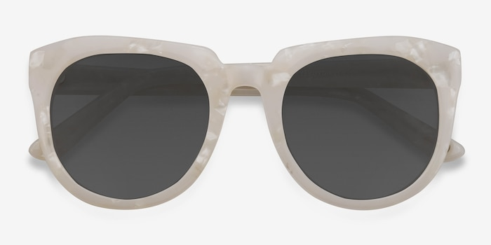 Laohu White Acetate Sunglass Frames from EyeBuyDirect, Closed View