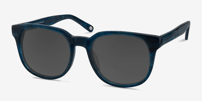 Tempest Blue Acetate Sunglass Frames from EyeBuyDirect, Angle View