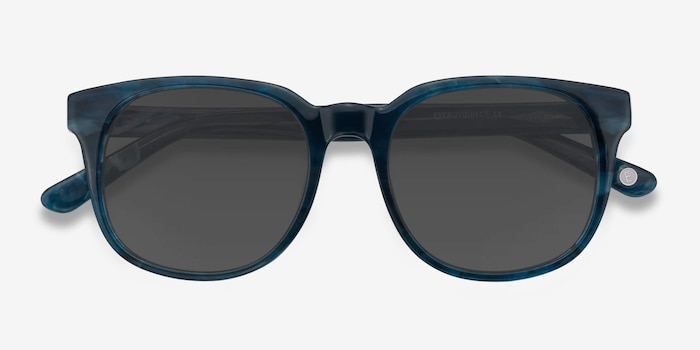 Tempest Blue Acetate Sunglass Frames from EyeBuyDirect, Closed View
