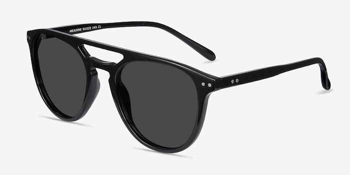 Meadow Black Plastic Sunglass Frames from EyeBuyDirect, Angle View