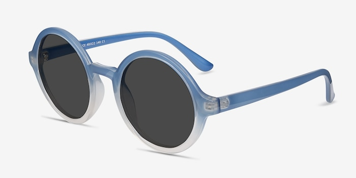 Solstice Blue Clear Plastic Sunglass Frames from EyeBuyDirect, Angle View
