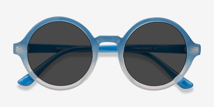 Solstice Blue Clear Plastic Sunglass Frames from EyeBuyDirect, Closed View