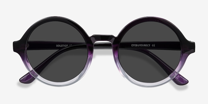 Solstice Purple Clear Plastic Sunglass Frames from EyeBuyDirect, Closed View