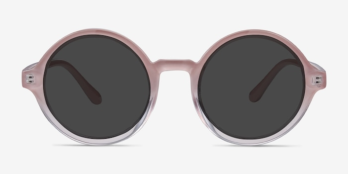 Solstice Pink Clear Plastic Sunglass Frames from EyeBuyDirect, Front View
