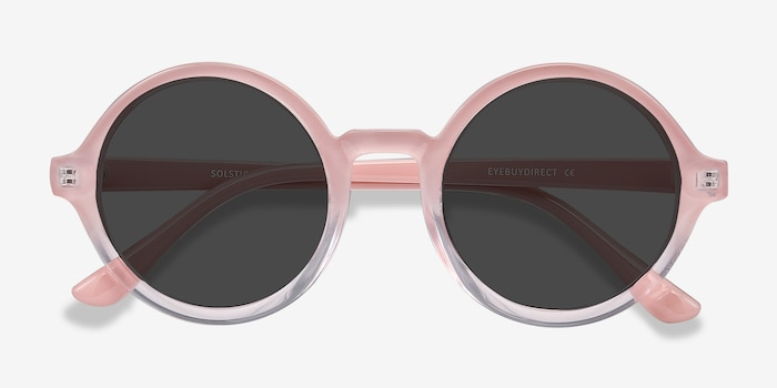 Solstice Pink Clear Plastic Sunglass Frames from EyeBuyDirect, Closed View