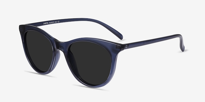 Cartel Clear Navy Plastic Sunglass Frames from EyeBuyDirect, Angle View