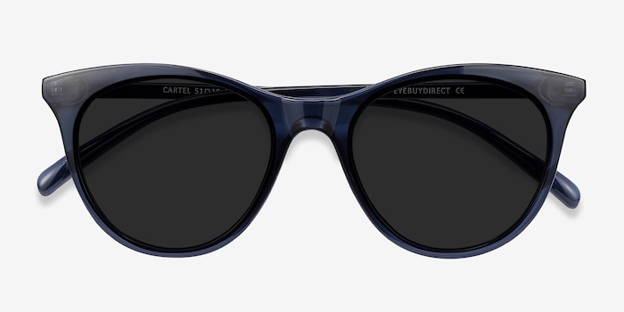 Cartel Clear Navy Plastic Sunglass Frames from EyeBuyDirect, Closed View