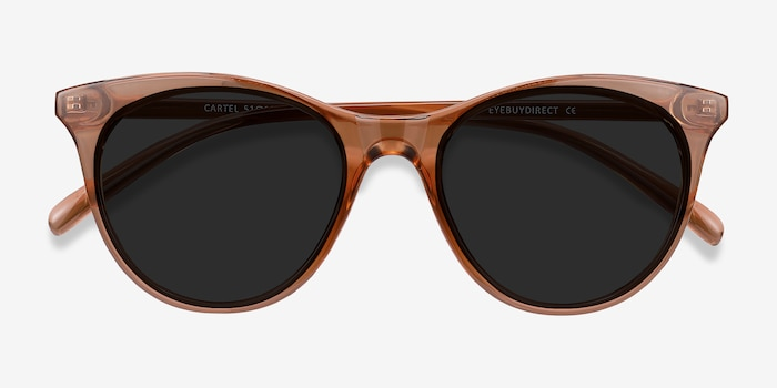 Cartel Clear Brown Plastic Sunglass Frames from EyeBuyDirect, Closed View