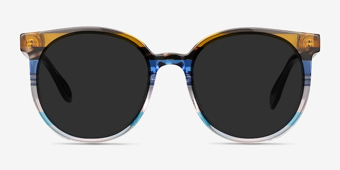 Valence Brown Blue Acetate Sunglass Frames from EyeBuyDirect, Front View