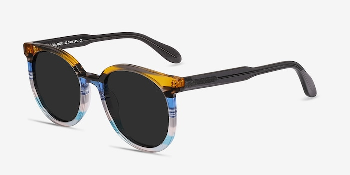 Valence Brown Blue Acetate Sunglass Frames from EyeBuyDirect, Angle View