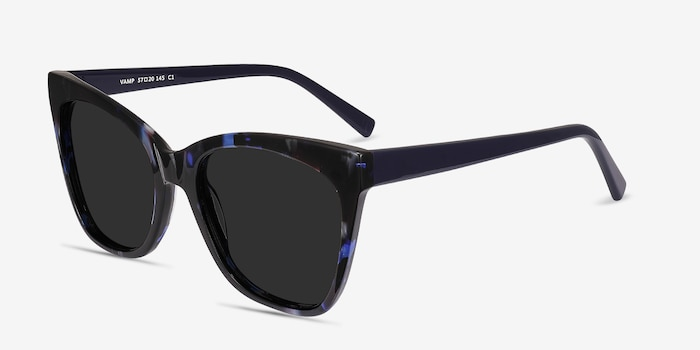 Vamp Blue Floral Acetate Sunglass Frames from EyeBuyDirect, Angle View