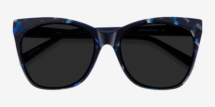 Vamp Blue Floral Acetate Sunglass Frames from EyeBuyDirect, Closed View