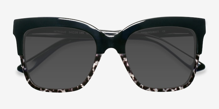 Intrigue Black Leopard Acetate Sunglass Frames from EyeBuyDirect, Closed View