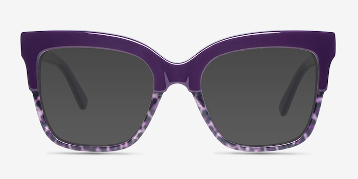 Intrigue Purple Leopard Acetate Sunglass Frames from EyeBuyDirect, Front View