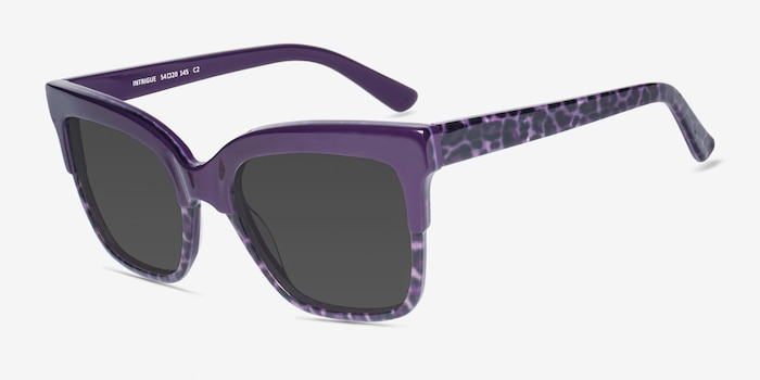 Intrigue Purple Leopard Acetate Sunglass Frames from EyeBuyDirect, Angle View