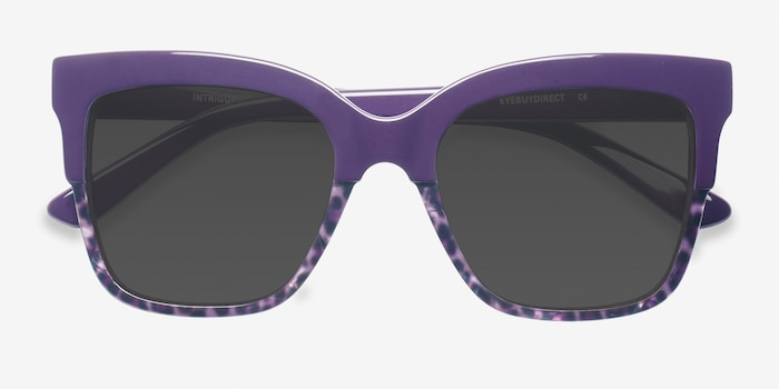Intrigue Purple Leopard Acetate Sunglass Frames from EyeBuyDirect, Closed View