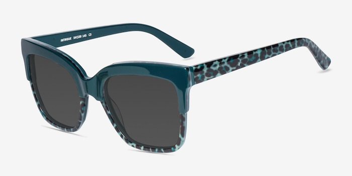 Intrigue Green Leopard Acetate Sunglass Frames from EyeBuyDirect, Angle View