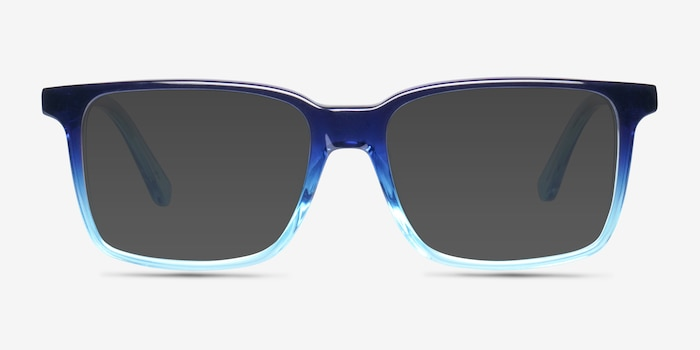 Epoch Blue Acetate Sunglass Frames from EyeBuyDirect, Front View