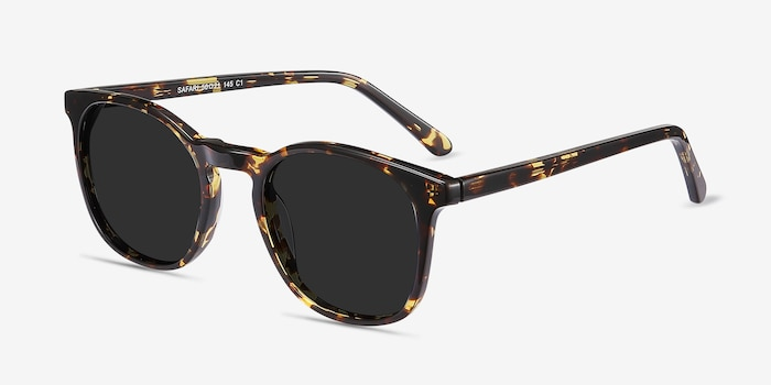 Safari Dark Tortoise Acetate Sunglass Frames from EyeBuyDirect, Angle View