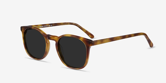 Safari Tortoise Acetate Sunglass Frames from EyeBuyDirect, Angle View
