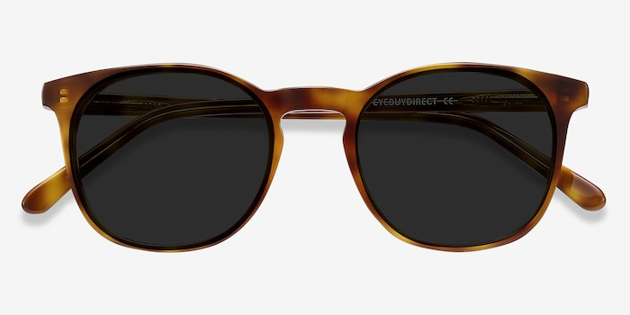 Safari Tortoise Acetate Sunglass Frames from EyeBuyDirect, Closed View