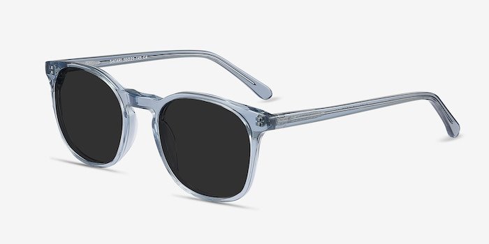 Safari Clear Blue Acetate Sunglass Frames from EyeBuyDirect, Angle View