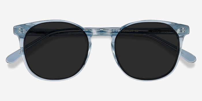 Safari Clear Blue Acetate Sunglass Frames from EyeBuyDirect, Closed View