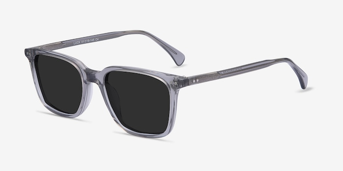 Luck Clear Gray Acetate Sunglass Frames from EyeBuyDirect, Angle View