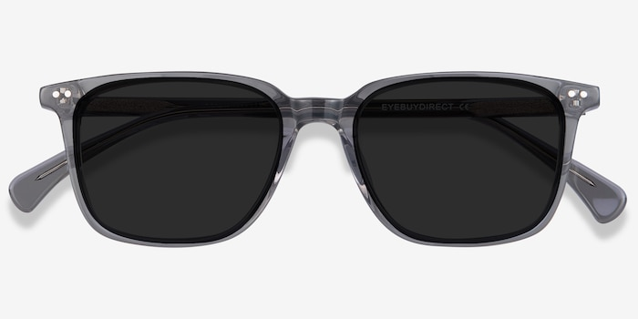 Luck Clear Gray Acetate Sunglass Frames from EyeBuyDirect, Closed View