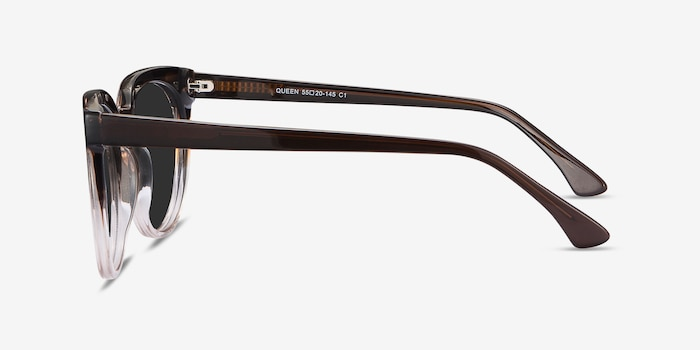 Queen Brown Striped Acetate Sunglass Frames from EyeBuyDirect, Side View