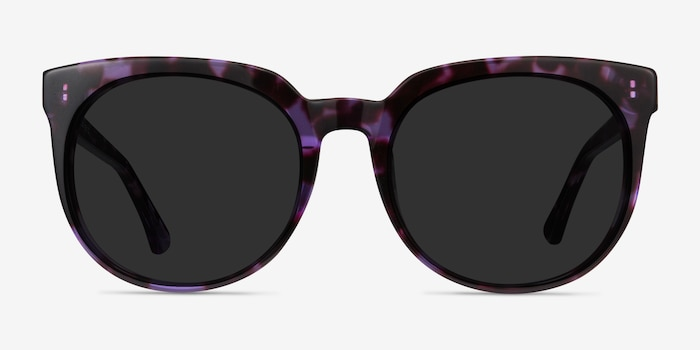 Queen Purple Tortoise Acetate Sunglass Frames from EyeBuyDirect, Front View
