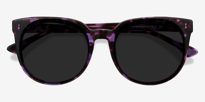 Queen Purple Tortoise Acetate Sunglass Frames from EyeBuyDirect, Closed View