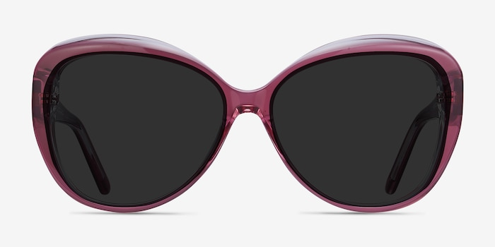 Believe Pink Acetate Sunglass Frames from EyeBuyDirect, Front View
