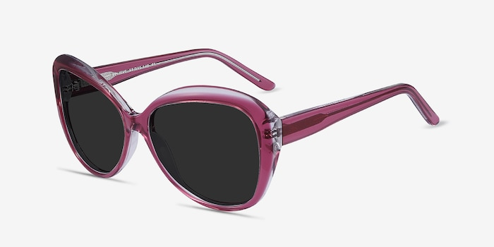Believe Pink Acetate Sunglass Frames from EyeBuyDirect, Angle View