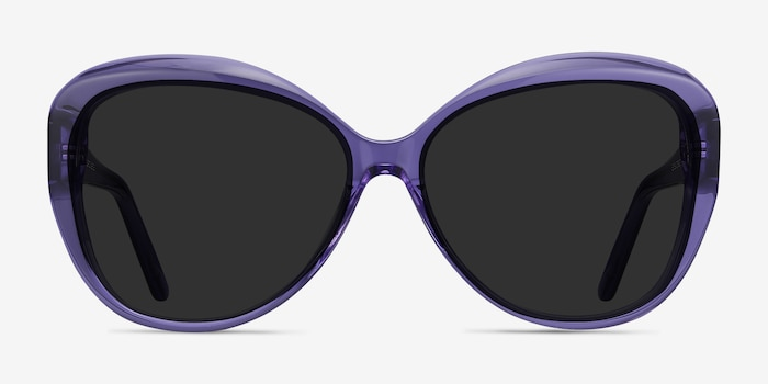 Believe Purple Acetate Sunglass Frames from EyeBuyDirect, Front View