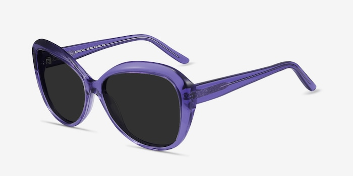 Believe Purple Acetate Sunglass Frames from EyeBuyDirect, Angle View