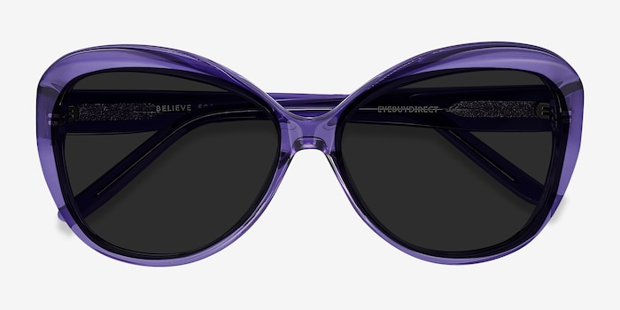 Believe Purple Acetate Sunglass Frames from EyeBuyDirect, Closed View