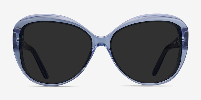 Believe Blue Acetate Sunglass Frames from EyeBuyDirect, Front View