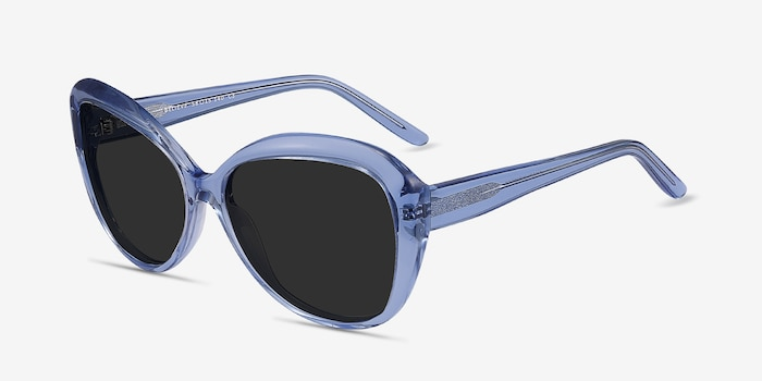 Believe Blue Acetate Sunglass Frames from EyeBuyDirect, Angle View