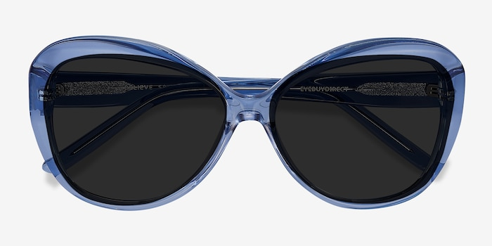Believe Blue Acetate Sunglass Frames from EyeBuyDirect, Closed View