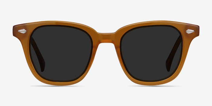 Sao Paulo Brown Acetate Sunglass Frames from EyeBuyDirect, Front View