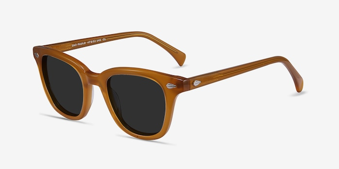 Sao Paulo Brown Acetate Sunglass Frames from EyeBuyDirect, Angle View