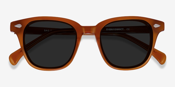 Sao Paulo Brown Acetate Sunglass Frames from EyeBuyDirect, Closed View