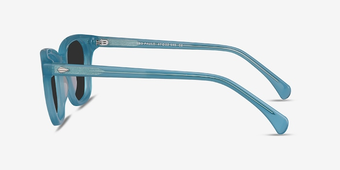 Sao Paulo Turquoise Acetate Sunglass Frames from EyeBuyDirect, Side View