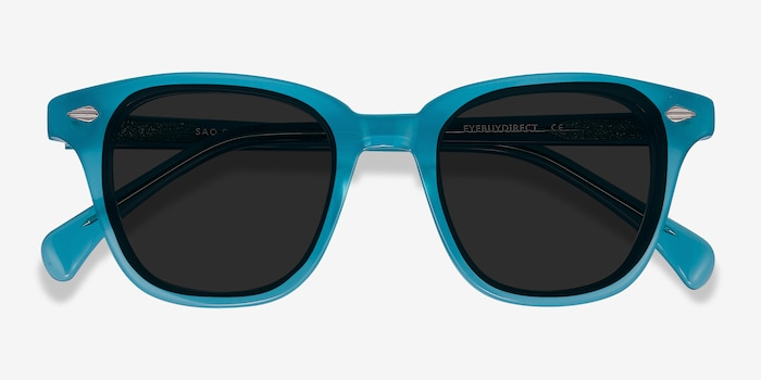Sao Paulo Turquoise Acetate Sunglass Frames from EyeBuyDirect, Closed View