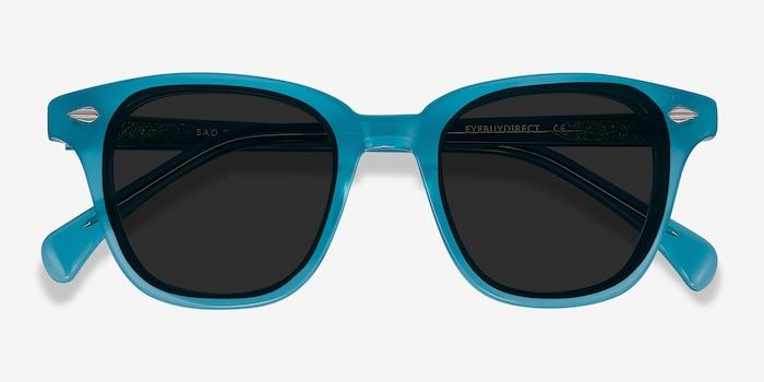 Sao Paulo Turquoise Acétate Soleil de Lunettes d'EyeBuyDirect, Vue Rapprochée