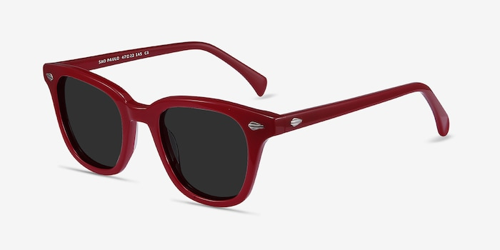 Sao Paulo Rouge Acetate Sunglass Frames from EyeBuyDirect, Angle View