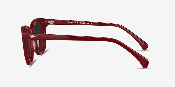 Sao Paulo Rouge Acetate Sunglass Frames from EyeBuyDirect, Side View