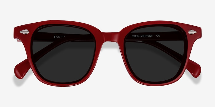 Sao Paulo Rouge Acetate Sunglass Frames from EyeBuyDirect, Closed View